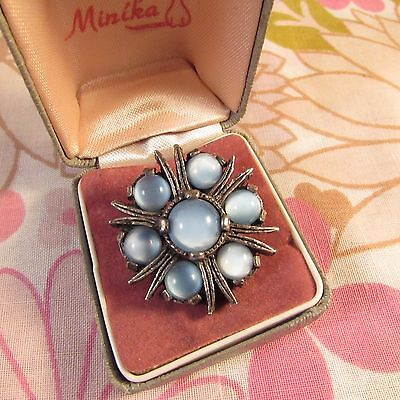 Vintage Signed Miracle Silvertone & Blue Moonglow Glass Beaded Scottish Brooch