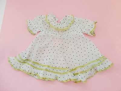 Cute Vintage Antique Green Dotted Ruffle Doll Dress
