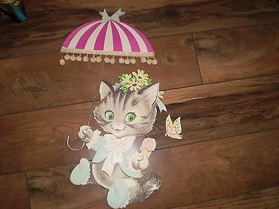 1965 Vintage KITTEN WITH UMBRELLA Wall Hanging Nursery Decor The Dolly Toy Co
