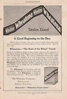 1919 The Wheatena Co Wheatenaville Rahway NJ Ad: The Heart of the Wheat Cereal