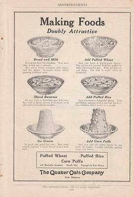 1919 Quaker Oats Co Ad: Making Foods Doubly Attractive Ice Cream Sliced Bananas