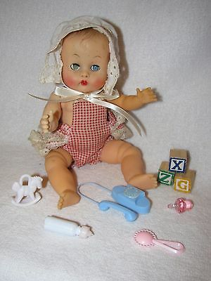 "8"" Vintage Vogue Molded Hair Ginnette Baby Doll Dressed In Sunsuit With Toys"