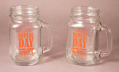 Set of 2 DEWAR Dewar's REPEAL DAY Glasses / Mugs- NEW!!