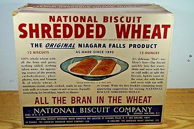 Vintage 1939 National Biscuit Shredded Wheat Box Great Graphics
