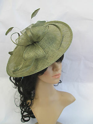 NEW SAGE SINAMAY & FEATHER FASCINATOR HAT.Shaped saucer disc,Wedding..races