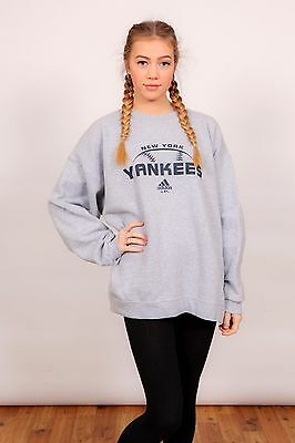 90s vintage grey Adidas New York Yankees baseball sweatshirt jumper jersey