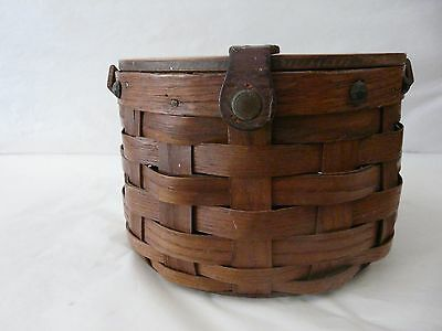 Vintage Antique Weave  & Leather  Basket w Hinged Lid Snap Button Closure