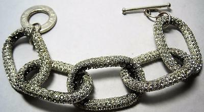 designer signed CC SKYE pave Rhinestone Links Bracelet chunky as is