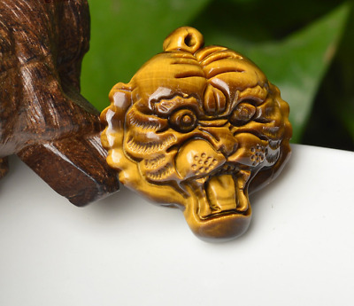 CHINESE Icy White AGATE PENDANT Tiger Head Amulet