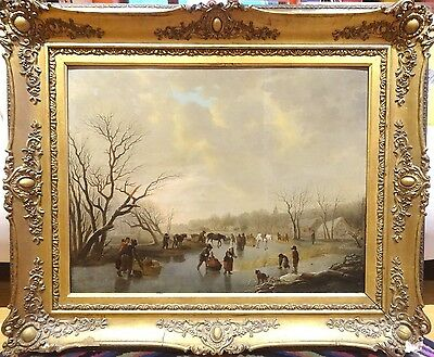 Huge Fine 17th 18th Century Dutch Old Master Frozen Winter Ice Skating Landscape