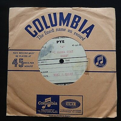 "MIKI & GRIFF I Wanna Stay Here / My Heart ACETATE DEMO PYE UK Press 7"" 45"