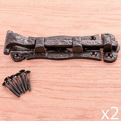 2 x Black Cast Iron Heavy Sliding Door Bolt Antique Ornate Scroll Tower Latch