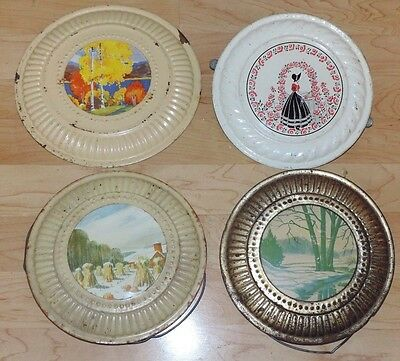 Lot 4 Antique Chimney Hole Flue Covers Metal Scene Lady Shocked Corn Stalks Farm