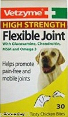 Vetzyme Flexible Joint High Strength 30 Tabs chicken flavour DOGS glucosamine