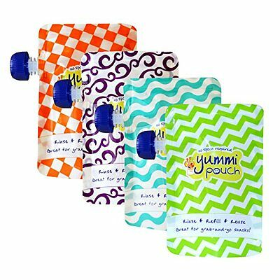 Yummi Pouch Brights Reusable Food Pouches Set of 4, New