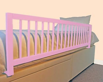 Safetots Extra Wide Wooden Bed Rail Pink - Long Wood Bed Guard Deluxe Bedrail