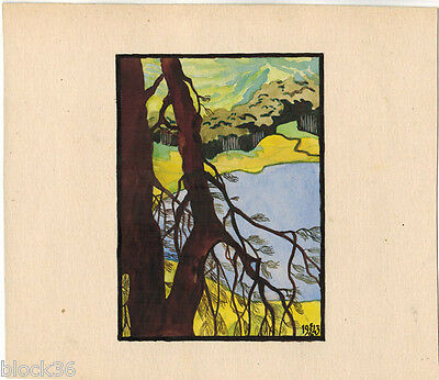 1943 VIEW ON THE LAKE drawing by Russian artist Mikhail Kalugin