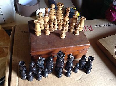 Vintage Wooden Chess Pieces in Wooden Box