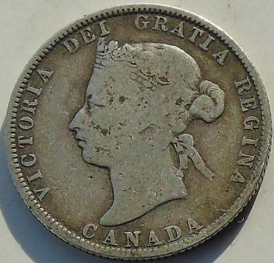 Canada Silver 25 Cents 1874-H Queen Victoria, 19thC Canadian Coin
