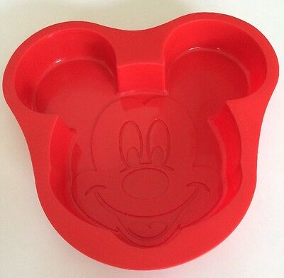 "Disney Parks Mickey Mouse Face Silicone CAKE PAN Red Birthday Baking Mold 9"" EUC"