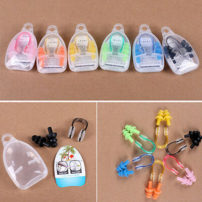 Silicone Swimming Ear plugs Water Sporting Protector Tool + Nose Clip + Case Set