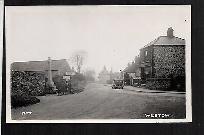 Westow - Village and War Memorial - real photographic postcard