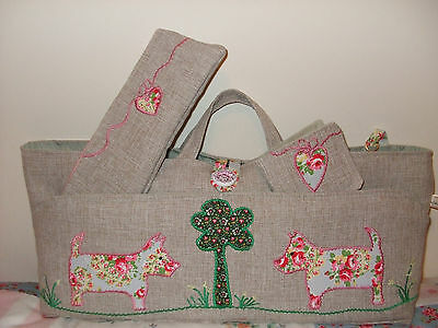Knitting Bag Hand Made Dog Applique In Cath Kidston Fabric New