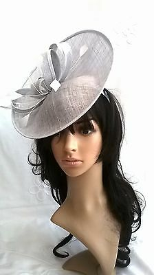 NEW SILVER SINAMAY FASCINATOR .Turn-up saucer disc,Wedding..races