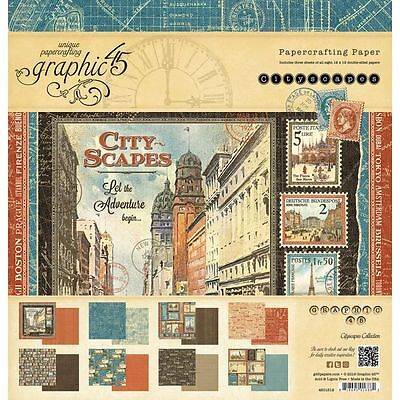 Graphic 45 City Scapes Travel Adventure (1) 12X12 Scrapbooking Paper Pad