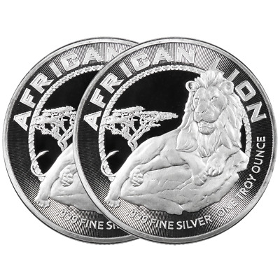 Lot of 2 - 2017 $2 Niue Silver African Lion .999 1 oz Brilliant Uncirculated
