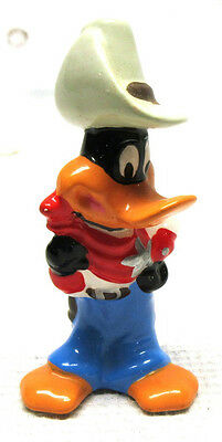 "RARE Ceramic Daffy Duck Sheriff Cowboy 3.5"" Figurine Warner Bros. 1992"