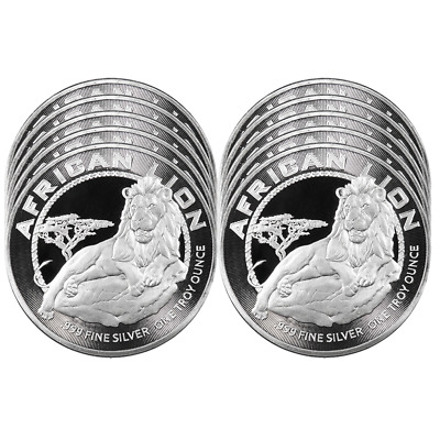 Daily Deal - Lot of 10 - 2017 $2 Niue Silver African Lion .999 1 oz BU