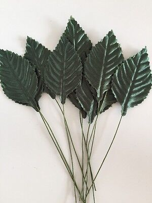 10 Wire Stem Green Rose Leaves Christmas Bridal Flower Crafts Floral Decoration