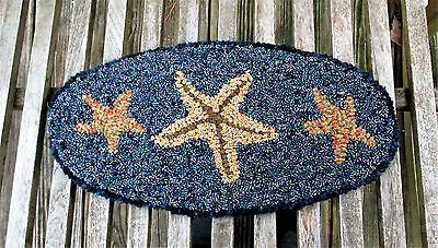 THREE STARFISH Oval Primitive Rug Hooking KIT or PATTERN on monks cloth