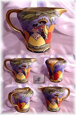 Antiq Rs Prussia Art Deco Noritake Style Hand Painted Water Pitcher Sign O. Jury