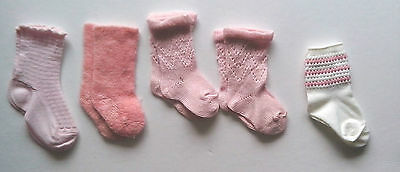 1970 and 1980s Vintage Socks for Baby and Children   Pink, WHite,  Blue
