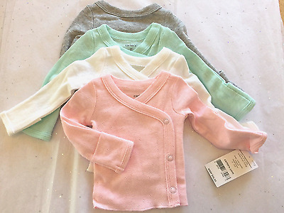 Carter's 4 Pack Under Shirts  Baby Girls Pink Gray Green White Layette Preemie