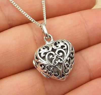 Filigree 925 Sterling Silver Heart Locket Pendant Necklace
