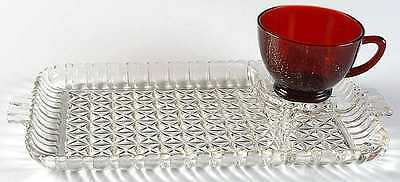 Anchor Hocking ROYAL RUBY Snack Plate & Punch Cup 6712057