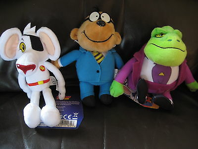 Danger Mouse Talking Plush Toys X3 - Danger Mouse, Penfold & Baron Greenback New