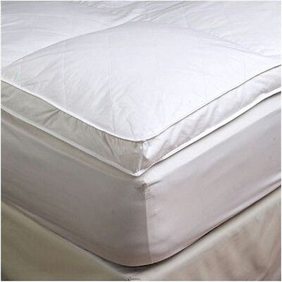 "2"" Queen Goose Down Mattress Topper Featherbed / Feather Bed Baffled"