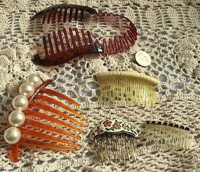 Group VINTAGE HAIR COMBS BARRETTES ACCESSORIES Amber Pearl CLOSOINE RHINESTONE