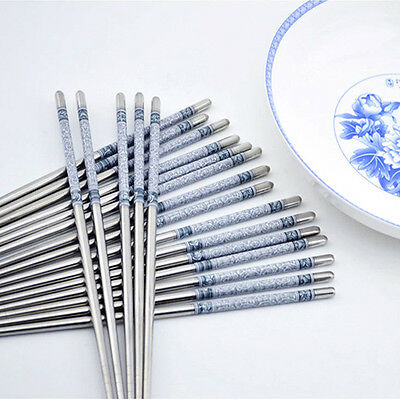 5Pairs Porcelain Floral Pattern Portable Stainless Steel Dinner Chopsticks