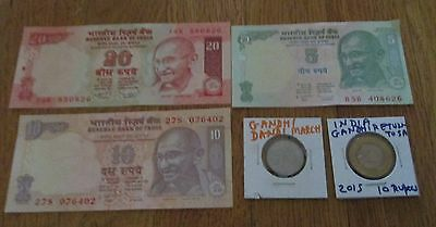 India Gandhi  5 10 20  Rupees Uncirculated Note + 2 Gandhi Coin