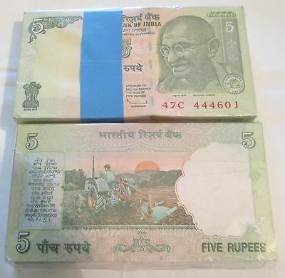 India Gandhi 5 Rupees Bundle Crisp UNC 100 Notes Consecutive numbers new