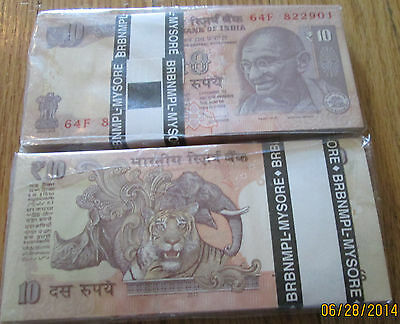 India Gandhi 10 Rupees New Symol Bundle Crisp UNC 100 Note Consecutive numbers