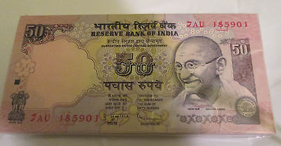 India Gandhi 50 Rupees Bundle Crisp UNC 100 Notes New Consecutive numbers