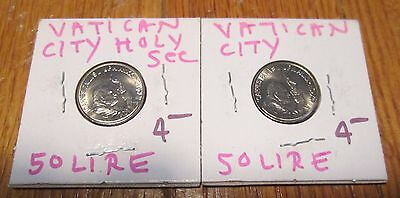 VATICAN CITY 2 coins 50 Lira Holy See smallest Country