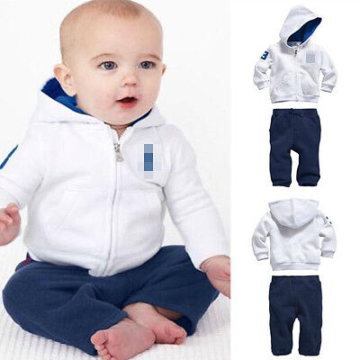 2X Set Kids Toddler Baby Boys Sportswear Coat Sets Hoody+Pants Outfits Clothes