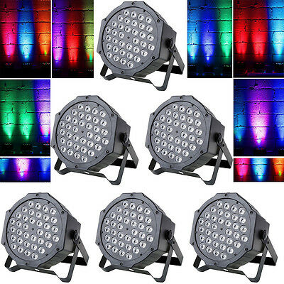 6PCS 72W 36LED RGB Stage Light Flat Par Lamp Club DJ Party Disco DMX512 Control